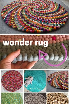 Love this Etsy Find, Custom made from New Zealand Wool, excellent craftmanship color Colorful felt ball round rug Multi color nursery carpet Handmade Unique Design Rug Home and Kids Room Decoration Area Rugs Mat Diy Crafts To Sell, Diy Crafts For Kids, Kids Diy, Sell Diy, Craft Ideas, Homemade Rugs, Felt Ball Rug, Braided Rag Rugs, Diy Carpet