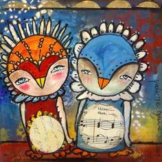 Whimsical Owls Print - 8x8 inch Print of a Reproduction of the Original Mixed Media Painting Thine and Thou, Together by Juliette Crane. $20.00, via Etsy.
