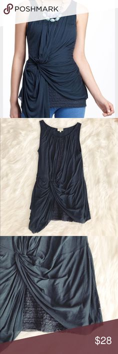 • Deletta • Lace Layered Ruched Tank Top - Deletta  - Anthropologie  - Size Medium  - Blue  - Lace Layered  - Ruched Tank Top  - Excellent Condition Anthropologie Tops Tank Tops