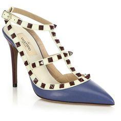 Valentino Rockstud Ankle-Strap Pumps (9 305 SEK) ❤ liked on Polyvore