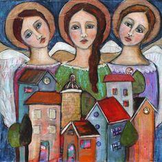 Angel Protectors - 24 x 24, LARGE Original Art,  contemporary painting