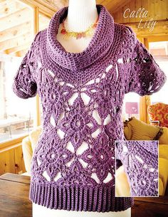 """""""Calla Lily"""" cowl-neck top by Robyn Chachula #crochetbyfaye #crochet pattern available in Mission Falls Goes Crochet (August 2008)"""