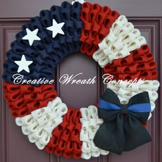 Police/Law Enforcement 'Thin Blue Line' Wreath by CreativWreathConcept on Etsy https://www.etsy.com/listing/225726372/policelaw-enforcement-thin-blue-line