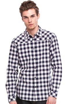 Buffalo Check Shirt - Shirts - Mens - Armani Exchange