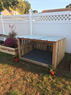 DIY pallet wood dog house with metal roof Dog House From Pallets, Wood Dog House, Pallet Dog House, Large Dog House, Dog House Plans, Dog Backyard, Backyard Projects, Diy Pallet, Pallet Wood