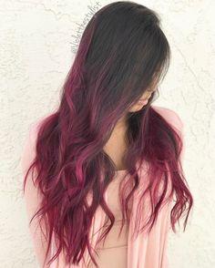 Long Burgundy Balayage Hair