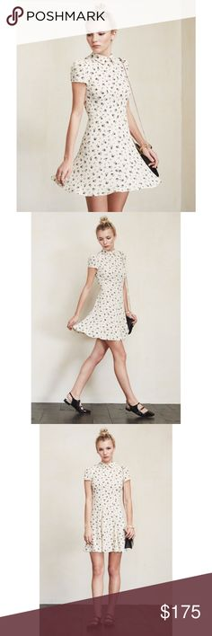 Reformation Wednesday Petites Dress Cream colored dress with black floral pattern and a matching collar. Very flattering fit. This is from Reformations petite collection and is best suited for a 0 or 2. Brand new with tags Reformation Dresses Mini
