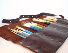 Leather Pencil Roll | Leather Artist Roll | Pencil Case | Leather pencil Case | Leather Tool Roll | Paintbrush Roll | Free Personalization