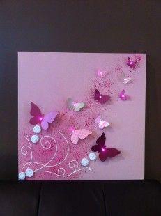 Toile Lumineuse Envolée de Papillon : Décoration pour enfants par ...