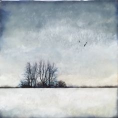"""Winter scape"" 10x10 encaustic"