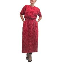 Vintage Long Sleeve Red Pattern Dress by ThriftedGal on Etsy