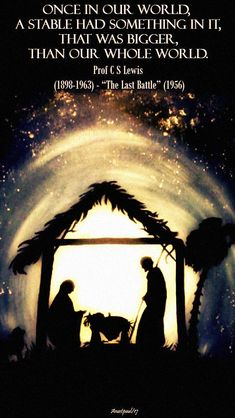 """Once in our world, a stable had something in it, that was bigger than our whole world."" CS Lewis – ""The Last Battle"" Christmas Prayer, Christmas Jesus, Christmas Blessings, Christian Christmas, Christmas Nativity, Little Christmas, Christmas Art, Christmas Greetings, All Things Christmas"