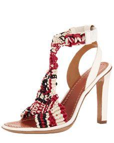 Chloe Tribal Crochet T-Strap Sandal