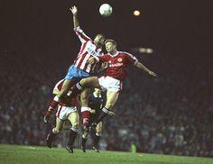 Manchester United y Atletico de Madrid en la copa de Europa de 1991.