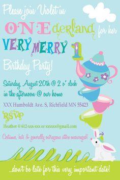 Alice in Wonderland 1st Birthday Invitation - Printable Custom Invitation - Whimsical, Tea Party, Girl