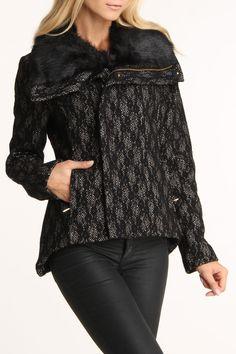Bebe Textured Moto Jacket In Black Lace