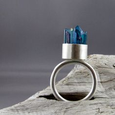 Aqua Aura Crystal Points Silver Ring by ElementalAlchemist on Etsy, $145.00
