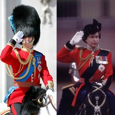 William is following in the footsteps of his royal grandmother, who used to lead the tradition. Seen right, Queen Elizabeth takes the salute during the Trooping the Colour ceremony in 1979.