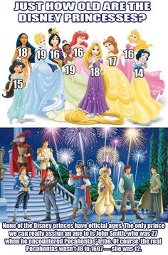 MickeyMeCrazy Disney princesses and princes ages