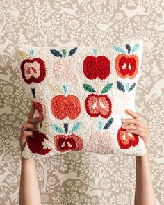 This pillow is the apple of my eye 🍎🍏 Want to make one for yourself? Better grab a kit before they are all gone! [link in… Hand Embroidery Art, Cross Stitch Embroidery, Embroidery Designs, Punch Needle Patterns, Penny Rugs, Punch Art, Rug Hooking, Needlework, Weaving