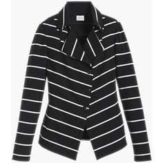 Stripe Knit Jacket ($160) ❤ liked on Polyvore featuring outerwear, jackets, button up jacket, knit blazer, shiny jacket, black white striped jacket and black and white blazer