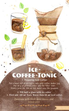 Ice Coffee Tonic - recipe for the best coffee cocktail for summer! #coffee #recipe #tonic #cocktail #art #illustration #food #drink #watercolor