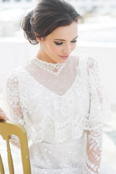 vintage lace gown (love the hair, too)   #bride #wedding