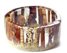 Forest Bracelet- Forest Jewelry- Fall Jewelry- Bark Jewelry- Resin Jewelry- Flower Bangle- Flower Resin Bracelet