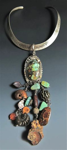 Sterling Silver, Variscite, Ancient Ammonites, Dinosaur Bone, Herkimer Diamond, Carnelian, Crystal, Baby Geods. Piece worn on a beautiful, comfortable hammered collar. When hanging on collar, it is 13 inches from top of collar to bottom of hanging ammonites. The actual Variscite with hanging fossils is 8 inches.  SOLD