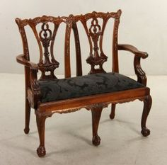 ~ Chippendale Mahogany Diminutive Settee ~ liveauctioneers.com