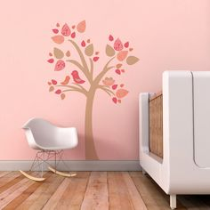 Kids Wall Decal, Nursery Decal and Wall Decal for Children's Rooms. Tree with Bird Nest Children Wall Decal on Etsy, $78.00