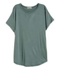 Check this out! Wide top in soft, crêped viscose jersey with short cap sleeves and a gently rounded hem. - Visit hm.com to see more.