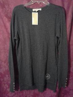 NWT! MICHAEL KORS Studded Logo Long Sleeve Tee Top Sz S Derby GREY #MichaelKors #LongSleevedTShirt