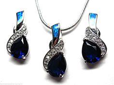 """Tanzanite Blue Fire Opal Sterling Silver 18"""" Necklace Earrings Jewelry Set NEW"""