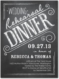 Signature White Rehearsal Dinner Invitations Beautiful board - Front : Black