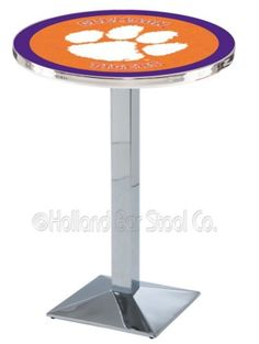 Clemson Tigers Round Pub Table With Chrome Base