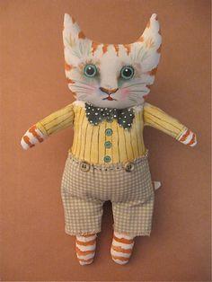 cat art doll by Sandy Mastroni, via Flickr