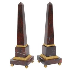 Pair of Antico Rosso Marble Obelisks | From a unique collection of antique and modern obelisks at https://www.1stdibs.com/furniture/more-furniture-collectibles/obelisks/