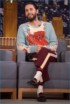 July 2016: Jared Leto wears a kitschy look from Gucci for a taping of The Tonight Show Starring Jimmy Fallon.