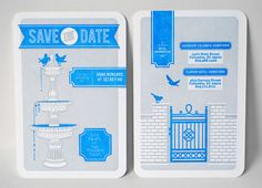 Mid-Century Style Blue + Gray Save the Dates