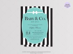 Teal and Ribbon Baby Shower Invitation Card DIY by SundayDesign