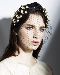 Jennifer Behr Jeweled Spiked Turban Headband Voilette :: silk satin headband with studs, Swarovski crystal, and French veiling, handmade in New York City
