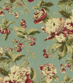 Fleuretta Bayberry - Waverly Fabric from Maison Dete Collection - Traditional floral fabric for Drapery fabric, upholstery fabric, slipcover fabric, or top of the bed. Floral Upholstery Fabric, Fabric Rug, Chair Upholstery, Drapery Fabric, Floral Fabric, Chair Fabric, Floral Chair, Waverly Fabric, Interior Decorating Styles