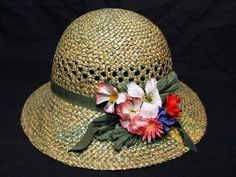 Vintage Women's 1950's Straw Cloche Wide Brim Hat with Flowers Green Trim | eBay