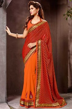 Maroon Orange Brasso Georgette Saree with Art Silk Blouse Price:-£45.00 Designer festival Sari collection with blouse are now in store presented by Andaaz Fashion like Maroon Orange Brasso Georgette Saree with Art Silk Blouse. This Saree is embellished with Embroidered, Patch, Resham, Stone, Zari, work and designed with Lace Border Designer Pallu, Halter Neck Blouse, Sleeveless. http://www.andaazfashion.co.uk/maroon-orange-brasso-georgette-saree-with-art-silk-blouse-dmv7777.html