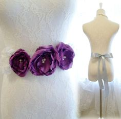 Purple Violet Silk Chiffon White Lace Flower Rose by miadressshop, $30.26