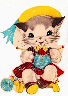 Art Deco 1930s Kitten Knitting Vintage by poshtottydesignz on Etsy, $1.00