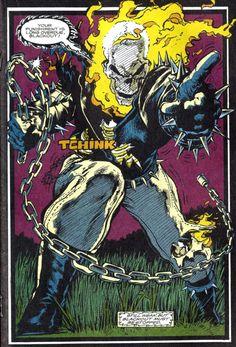 Ghost Rider 1991 by Mark Texeira Marvel Dc, Marvel Comics Art, Horror Comics, Captain Marvel, Marvel Comic Character, Marvel Characters, Spirit Of Vengeance, Ghost Rider Marvel, Comic Panels