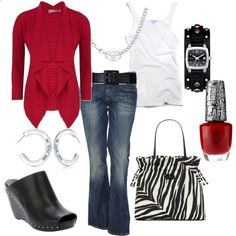Red, black and white weekend outfit by luchenskil on Polyvore