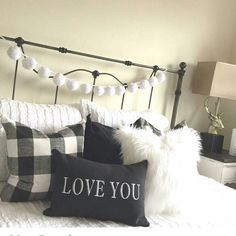 Pom pom garlands look awesome in the bedroom ! This white garland looks great with this black and white buffalo check ! Get yours for any room in your home today ! Also available in cream and alternating white and cream and new fall colors. Plaid Bedroom, Warm Bedroom, Master Bedroom, Teen Bedroom, Black And Cream Bedroom, Cream Bedrooms, Black And White Bedroom Teenager, White Garland, Buffalo Check Pillows